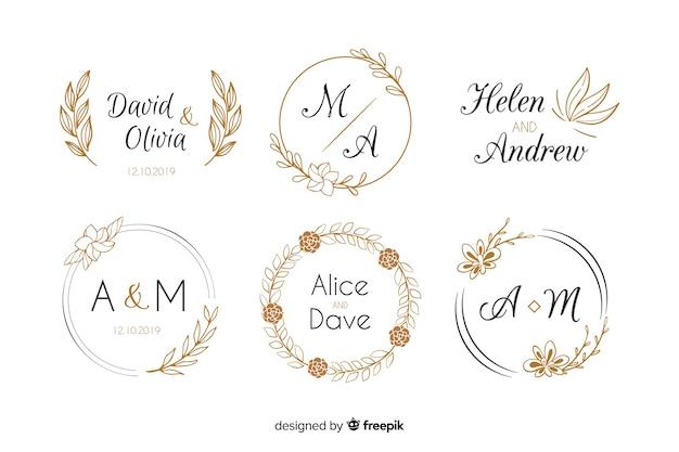 Kolekcja szablonów logo ślub monogram
