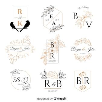 Kolekcja szablonów logo ślubne monogram