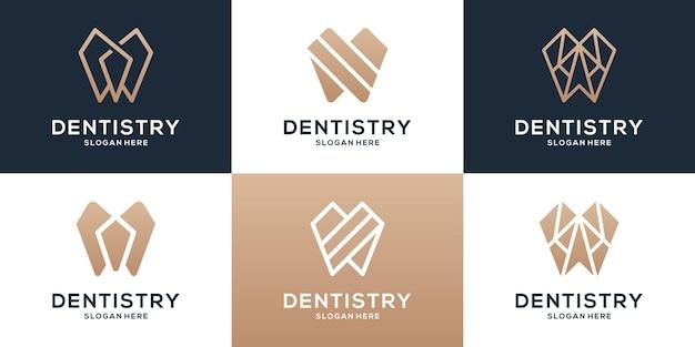 Kolekcja szablonów logo stomatologicznych. zestaw logo.