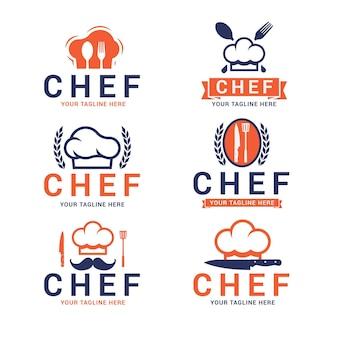Kolekcja szablonów logo szefa kuchni płaskiej