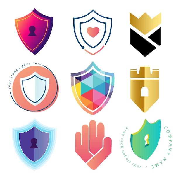 Kolekcja szablonów logo tarczy