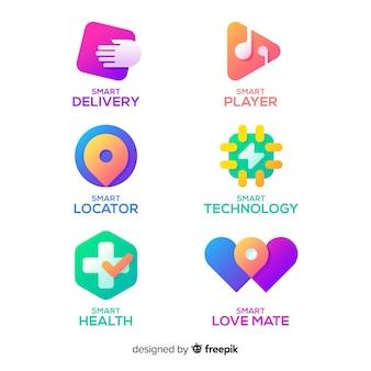 Kolekcja szablonów logo technologii gradientu