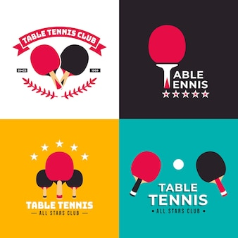 Kolekcja szablonów logo tenis stołowy