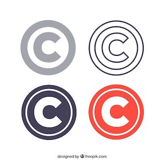 Kolekcja szablonów nowoczesnych symboli praw autorskich