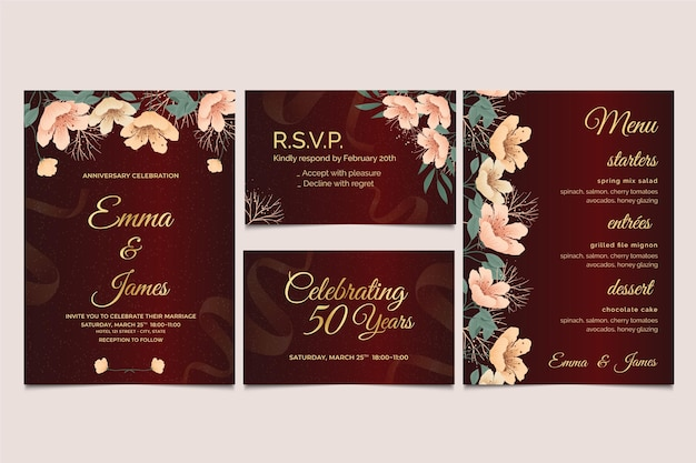 Kolekcja szablonów papeterii rocznicy ślubu