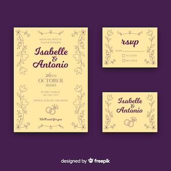 Kolekcja szablonów papeterii ślubnej płaski