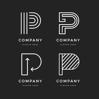 Kolekcja szablonów płaskich logo p