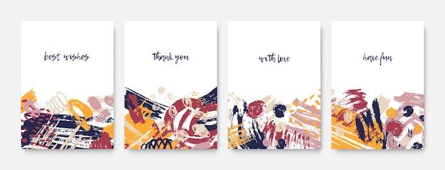Kolekcja szablonów pocztówek z inspirującymi frazami lub wiadomościami oraz abstrakcyjnymi, chaotycznymi, szorstkimi pociągnięciami pędzla