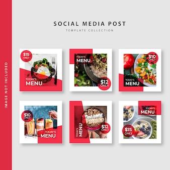 Kolekcja szablonów postów kulinarnych instagram