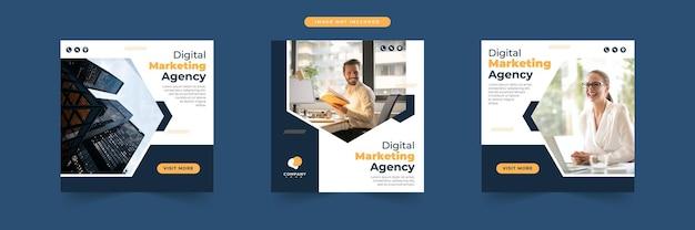 Kolekcja szablonów postów w mediach społecznościowych agencji marketingu cyfrowego