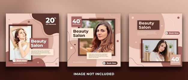 Kolekcja szablonów postów w mediach społecznościowych transparent salon piękności
