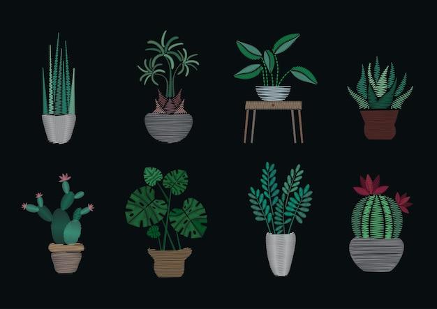 Kolekcja szablonów projektów haftu satynowego. modne rośliny doniczkowe na czarnym tle.