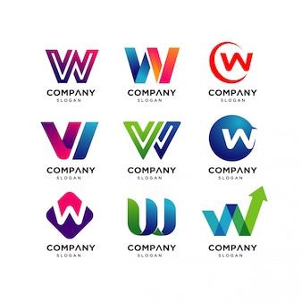 Kolekcja szablonów projektowania logo litery w.