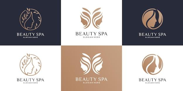 Kolekcja szablonów projektowania logo pięknych kobiet.