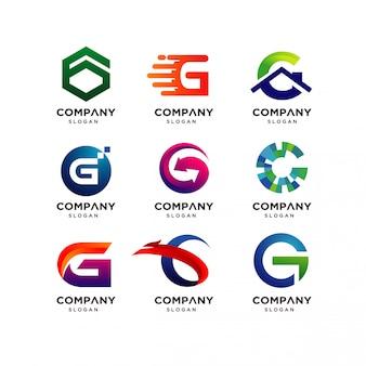 Kolekcja szablonów projektu logo litery g.