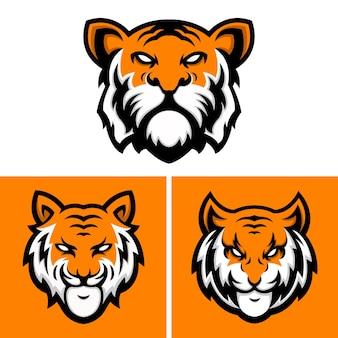 Kolekcja szablonów projektu logo tygrysów głowy
