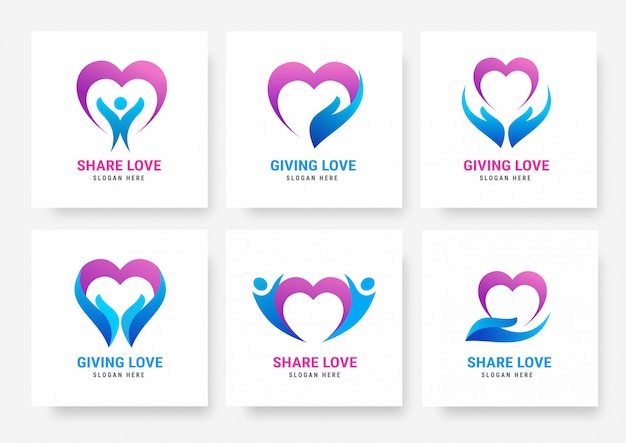 Kolekcja szablonów share love logo