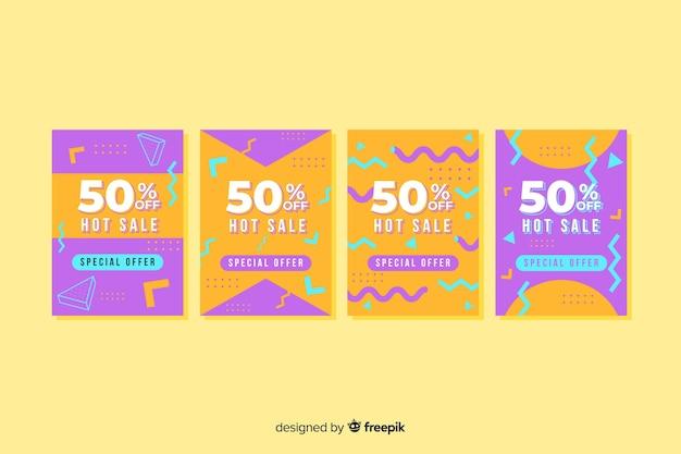 Kolekcja szablonów transparent sprzedaż memphis