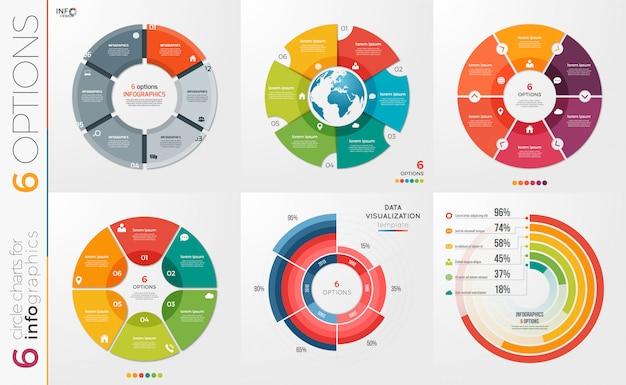 Kolekcja szablonów wykresów kołowych 6 opcji.