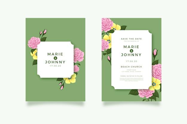 Kolekcja szablonów zaproszenia ślubne kwiatowy