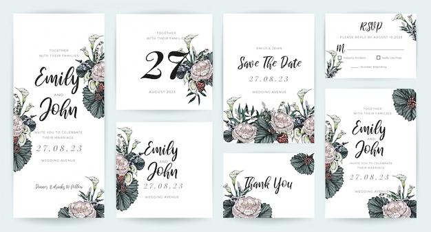Kolekcja szablonów zaproszenia ślubne