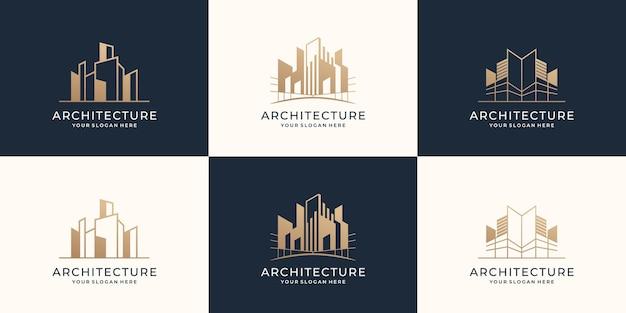 Kolekcja szablonów zestawu logo architektury budowa budynku nieruchomości nowoczesny design