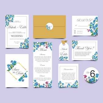 Kolekcja szablonu karty zaproszenie ślubne