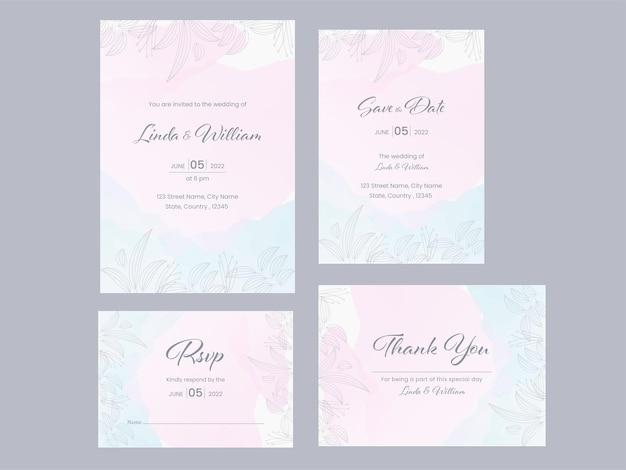 Kolekcja szablonu karty zaproszenie na ślub na szarym tle.