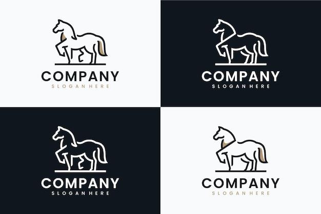Kolekcja szablonu konia, inspiracja do projektowania logo