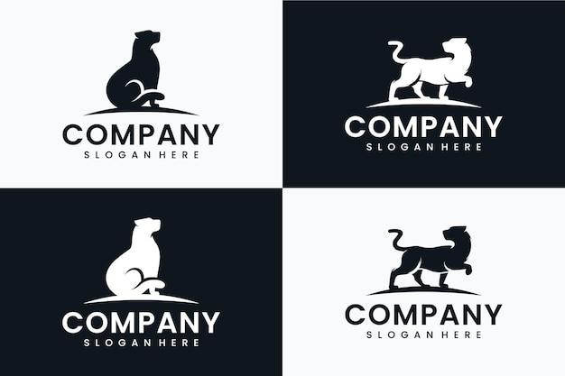 Kolekcja szablonu lamparta, inspiracja do projektowania logo