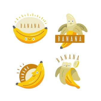 Kolekcja szablonu logo na białym tle banana