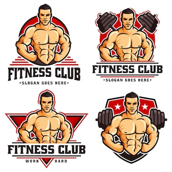 Kolekcja szablonu logo siłowni kulturysta fitness, z postacią muskularny mężczyzna