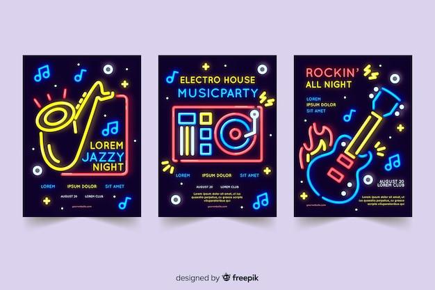 Kolekcja szablonu plakat muzyka neon