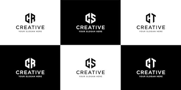 Kolekcja szablonu projektu logo inicjały