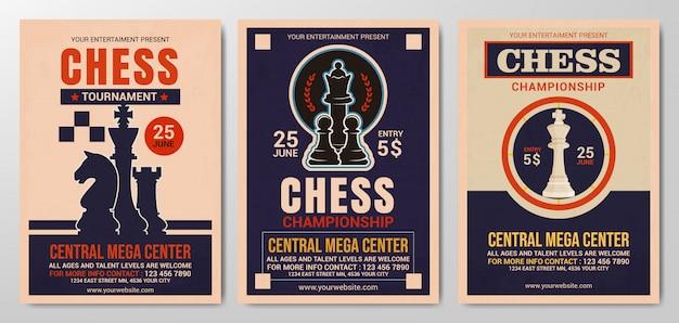 Kolekcja szablonu ulotki turniej szachowy