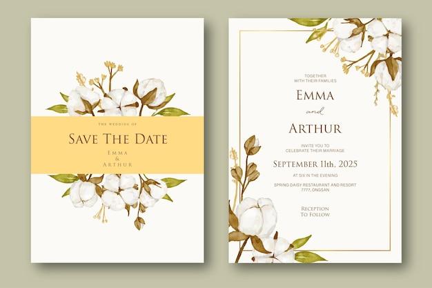 Kolekcja szablonu zaproszenia ślubne kwiat bawełny
