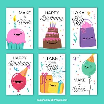 Kolekcja szczęśliwych kart urodzinowych z nicei znaków