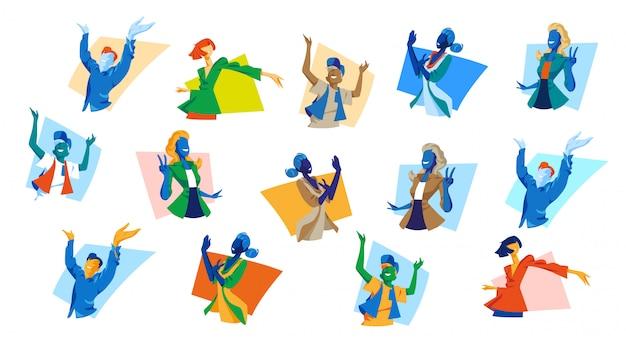 Kolekcja szczęśliwych młodych kobiet i mężczyzn pokazujących gesty szczęścia, zwycięstwa, radości