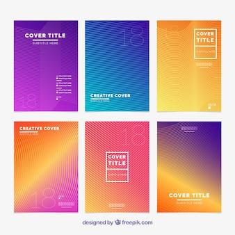Kolekcja sześciu okładek z abstrakcyjnymi liniami