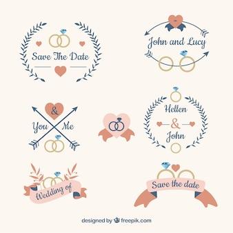 Kolekcja sześciu ślubnych etykiet