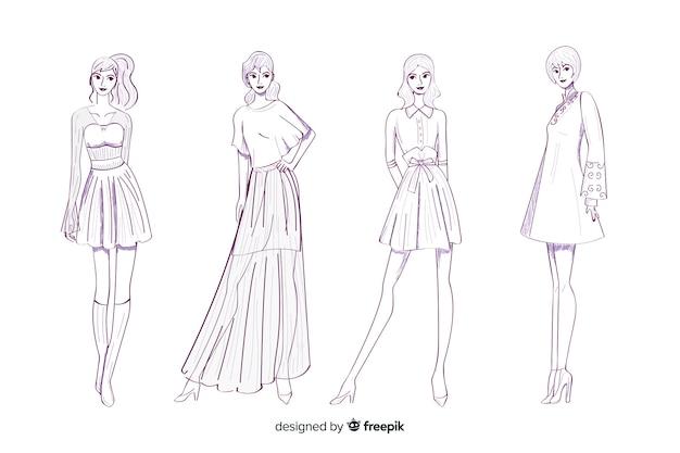 Kolekcja szkiców mody z modelami