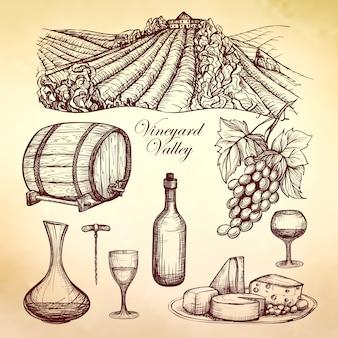 Kolekcja szkiców wina