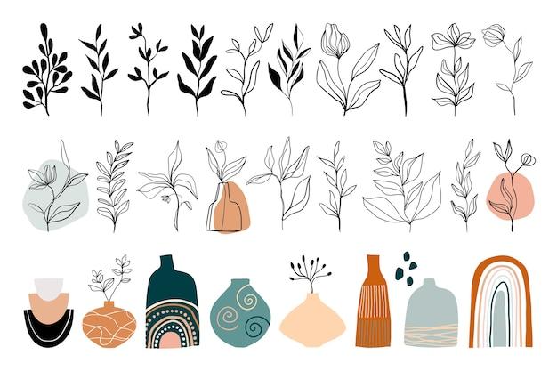 Kolekcja sztuki abstrakcyjnej linii z kwiatowymi elementami