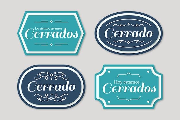 Kolekcja szyldów retro cerrado
