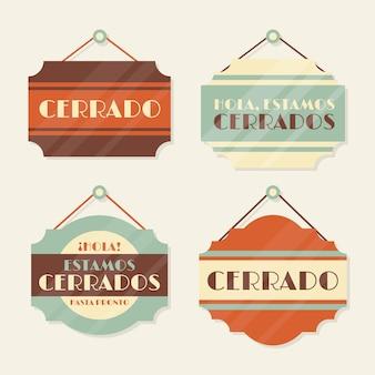 Kolekcja szyldów vintage cerrado
