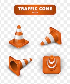 Kolekcja szyszek drogowych. izometryczny zestaw ikon dla sieci web na białym tle. realistyczna ilustracja.