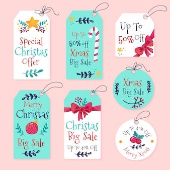 Kolekcja tagów akwarela boże narodzenie sprzedaż