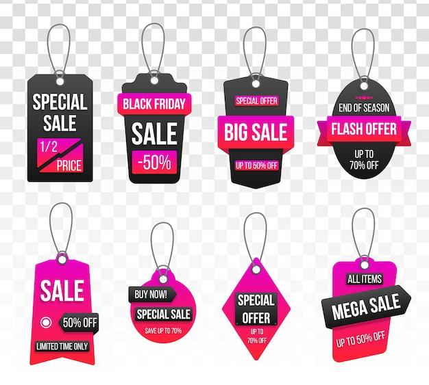 Kolekcja tagów duża sprzedaż na przezroczystym tle