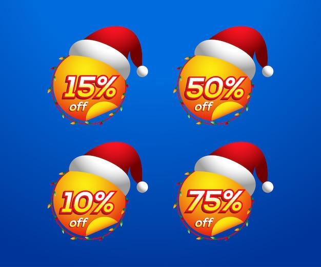 Kolekcja tagów etykiet świątecznych sprzedaży