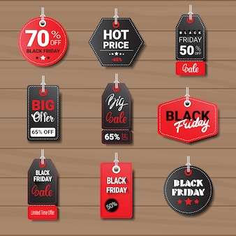 Kolekcja tagów lub etykiet w czarny piątek